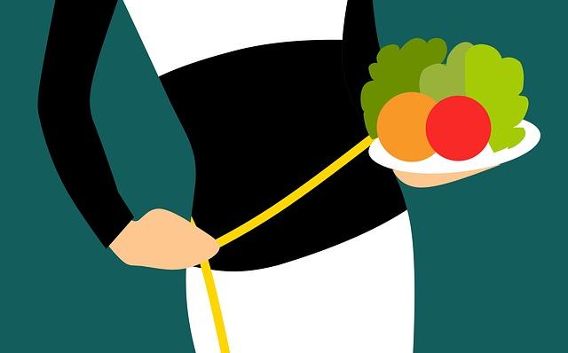 grafika ženy s porcí zeleniny na talíři